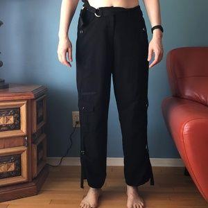 Vintage San Francisco black belted cargo pants EUC